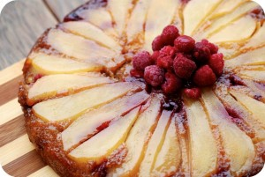 Saute Pan Pear, Ginger and Raspberry Cake