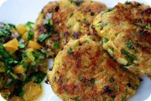 Thai Chicken Patties with Mango and Coriander Salsa